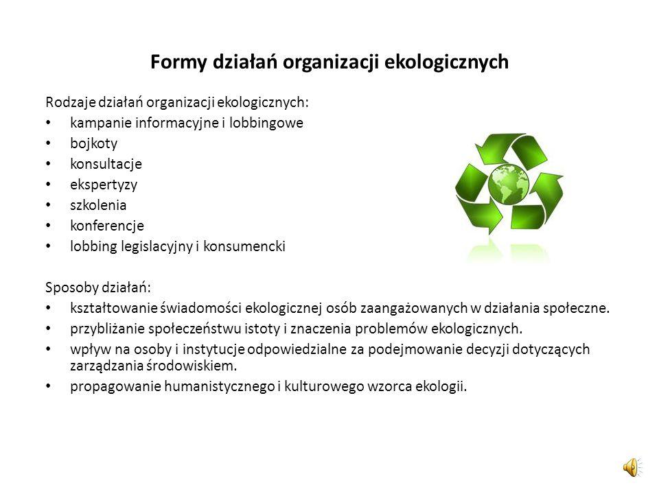 Rodzaje organizacji ekologicznych Pozarządowe ruchy obrony: praw człowieka praw zwierząt praw konsumentów środowiska naturalnego Typ organizacjiPrzykł