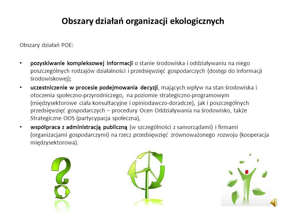 Formy działań organizacji ekologicznych Rodzaje działań organizacji ekologicznych: kampanie informacyjne i lobbingowe bojkoty konsultacje ekspertyzy s