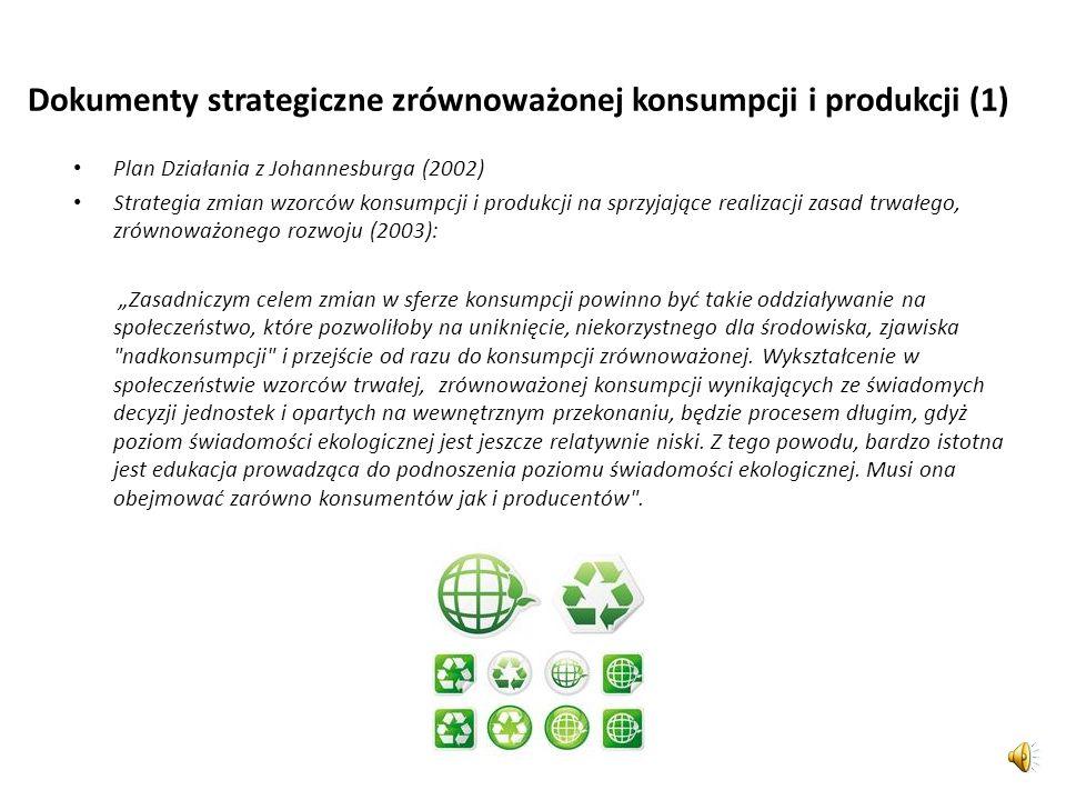 Obszary równoważenia konsumpcji Stwierdza się potrzeby równoważenia: sposobów robienia zakupów, sposobów użytkowania produktów, stylu i trybu życia, w