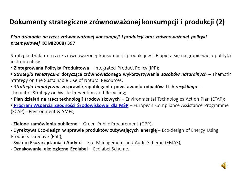 Dokumenty strategiczne zrównoważonej konsumpcji i produkcji (1) Plan Działania z Johannesburga (2002) Strategia zmian wzorców konsumpcji i produkcji n