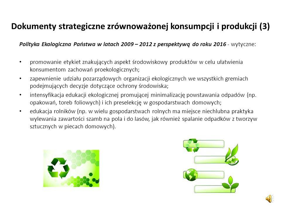 Dokumenty strategiczne zrównoważonej konsumpcji i produkcji (2) Plan działania na rzecz zrównoważonej konsumpcji i produkcji oraz zrównoważonej polity