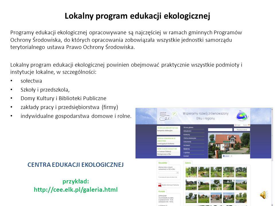 Zadania samorządów lokalnych w edukacji ekologicznej Na lokalne jednostki samorządu terytorialnego (gminy i powiaty) Strategia nakłada następujące zad