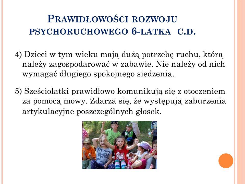 P RAWIDŁOWOŚCI ROZWOJU PSYCHORUCHOWEGO 6- LATKA C.