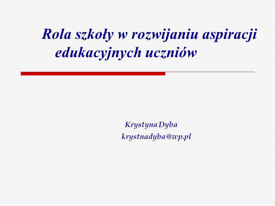 Rola szkoły w rozwijaniu aspiracji edukacyjnych uczniów Krystyna Dyba krystnadyba@wp.pl