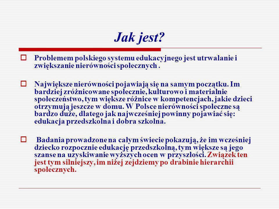 Jak jest? Problemem polskiego systemu edukacyjnego jest utrwalanie i zwiększanie nierówności społecznych. Największe nierówności pojawiają się na samy