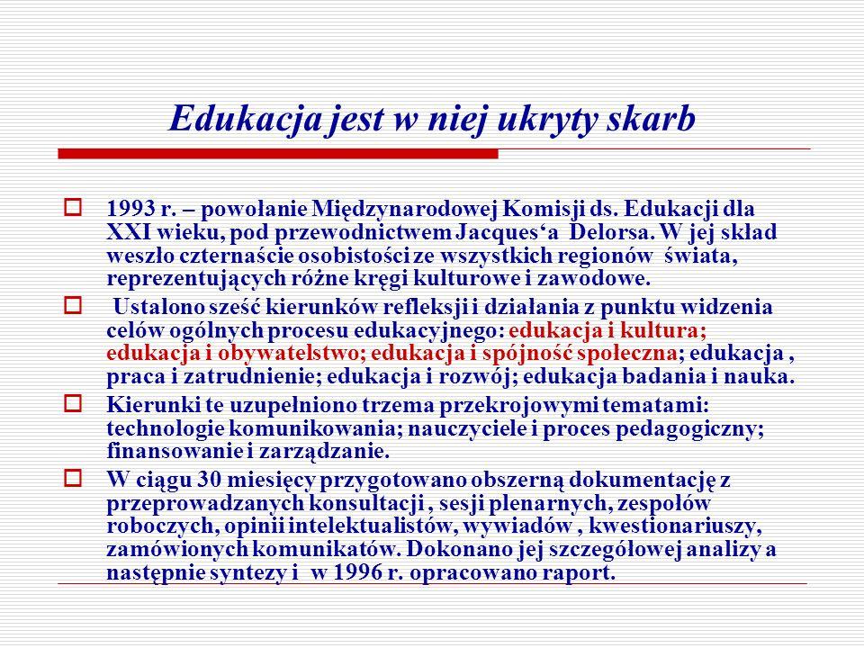 Edukacja jest w niej ukryty skarb 1993 r. – powołanie Międzynarodowej Komisji ds. Edukacji dla XXI wieku, pod przewodnictwem Jacquesa Delorsa. W jej s