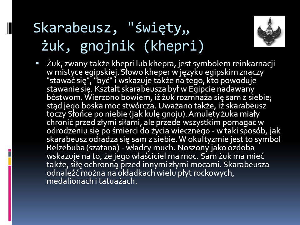 Skarabeusz, święty żuk, gnojnik (khepri) Żuk, zwany także khepri lub khepra, jest symbolem reinkarnacji w mistyce egipskiej.