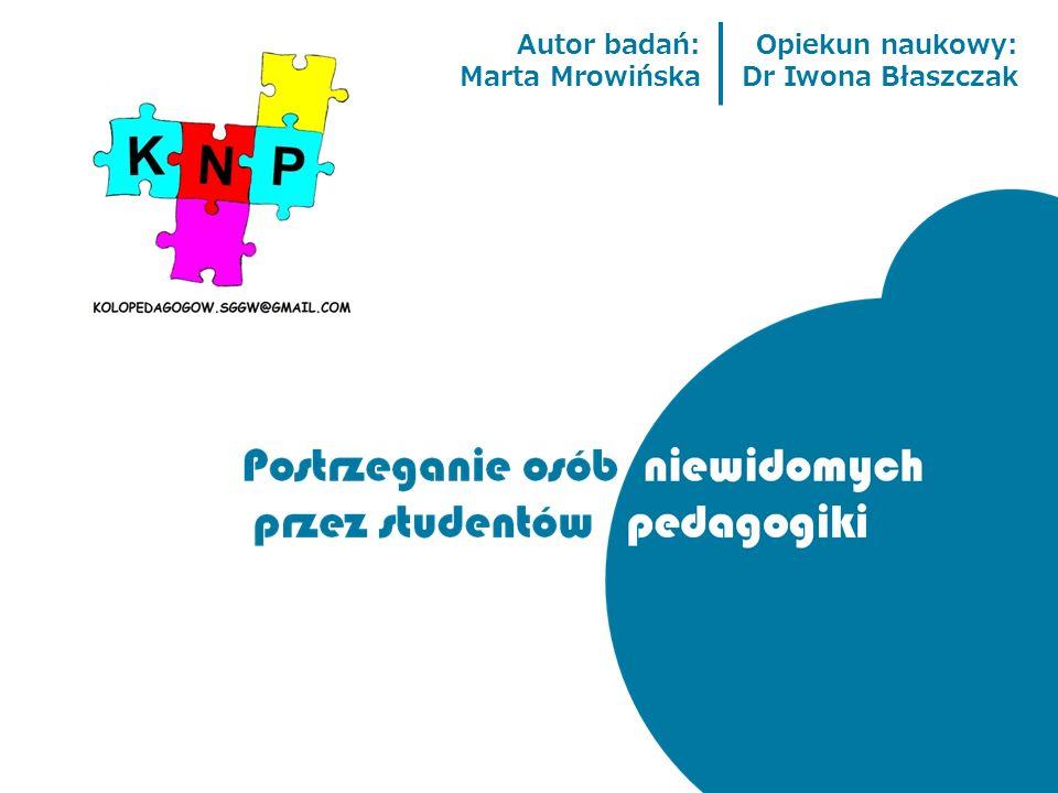 Autor badań: Marta Mrowińska Opiekun naukowy: Dr Iwona Błaszczak