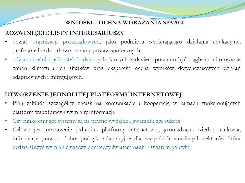 WNIOSKI – OCENA WDRAŻANIA SPA2020 ROZWINIĘCIE LISTY INTERESARIUSZY udział organizacji pozarządowych, jako podmiotu wspierającego działania edukacyjne,