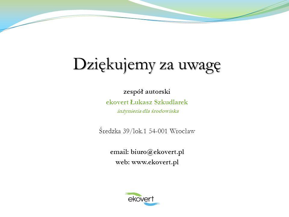 Dziękujemy za uwagę zespół autorski ekovert Łukasz Szkudlarek inżynieria dla środowiska Średzka 39/lok.1 54-001 Wrocław email: biuro@ekovert.pl web: w