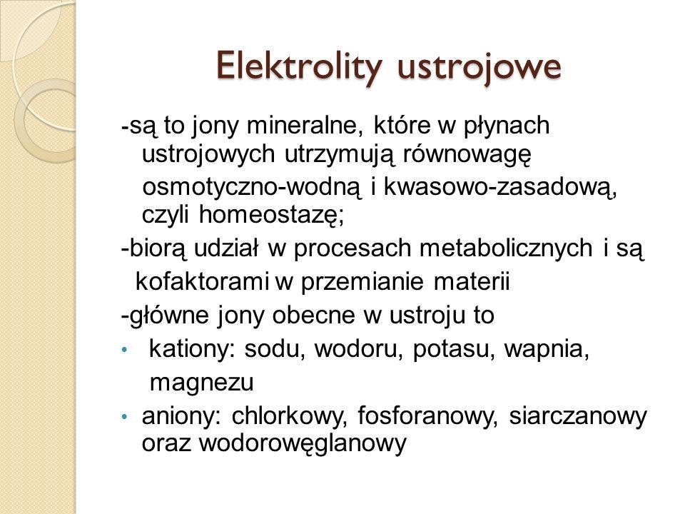 Elektrolity ustrojowe - są to jony mineralne, które w płynach ustrojowych utrzymują równowagę osmotyczno-wodną i kwasowo-zasadową, czyli homeostazę; -
