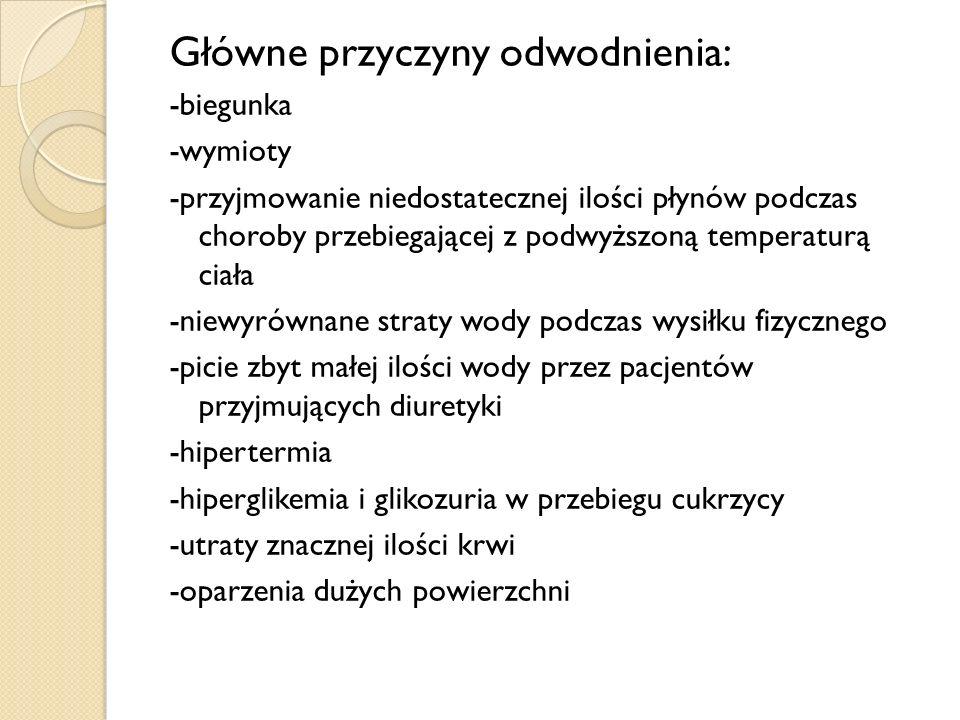 Główne przyczyny odwodnienia: -biegunka -wymioty -przyjmowanie niedostatecznej ilości płynów podczas choroby przebiegającej z podwyższoną temperaturą