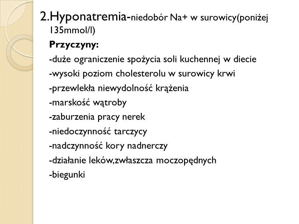 2.Hyponatremia- niedobór Na+ w surowicy(poniżej 135mmol/l) Przyczyny: -duże ograniczenie spożycia soli kuchennej w diecie -wysoki poziom cholesterolu