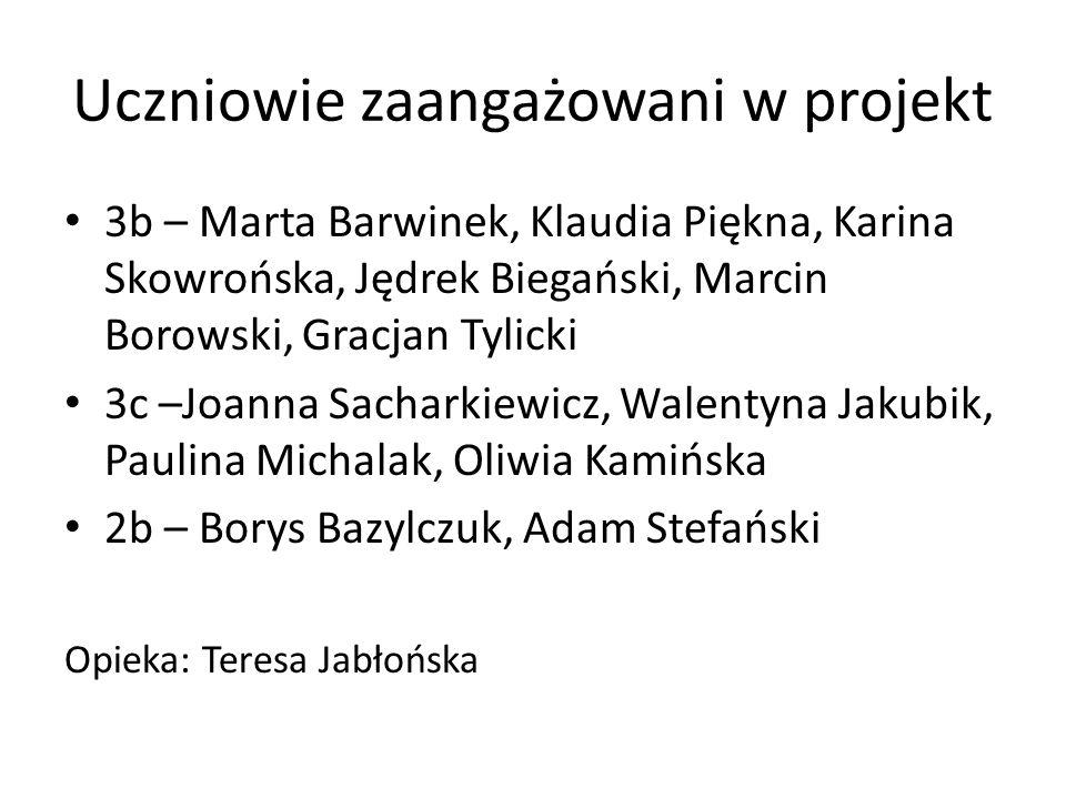 Uczniowie zaangażowani w projekt 3b – Marta Barwinek, Klaudia Piękna, Karina Skowrońska, Jędrek Biegański, Marcin Borowski, Gracjan Tylicki 3c –Joanna