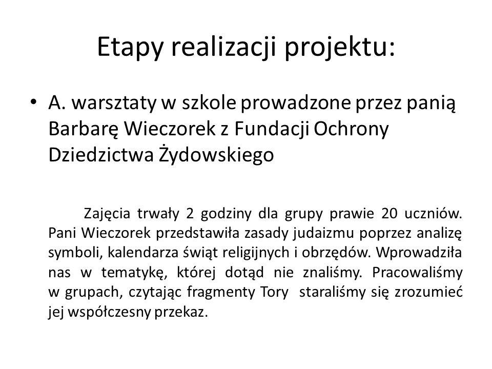 Etapy realizacji projektu: A. warsztaty w szkole prowadzone przez panią Barbarę Wieczorek z Fundacji Ochrony Dziedzictwa Żydowskiego Zajęcia trwały 2