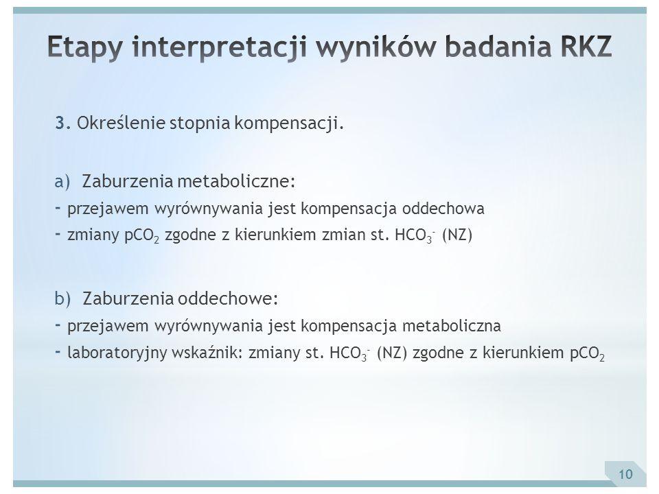3. Określenie stopnia kompensacji. a) Zaburzenia metaboliczne: - przejawem wyrównywania jest kompensacja oddechowa - zmiany pCO 2 zgodne z kierunkiem