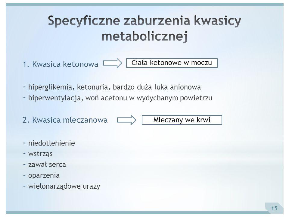 1. Kwasica ketonowa - hiperglikemia, ketonuria, bardzo duża luka anionowa - hiperwentylacja, woń acetonu w wydychanym powietrzu 2. Kwasica mleczanowa
