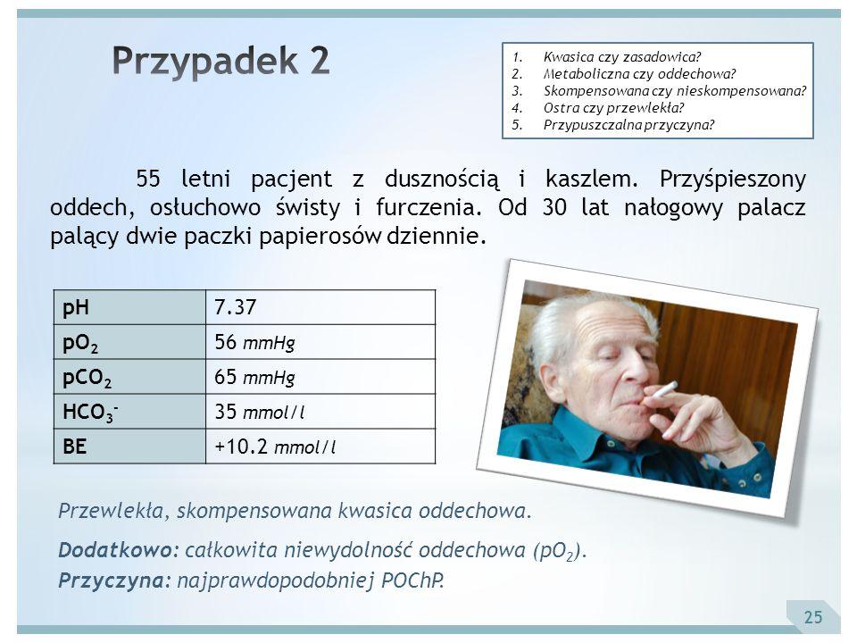 25 55 letni pacjent z dusznością i kaszlem. Przyśpieszony oddech, osłuchowo świsty i furczenia. Od 30 lat nałogowy palacz palący dwie paczki papierosó