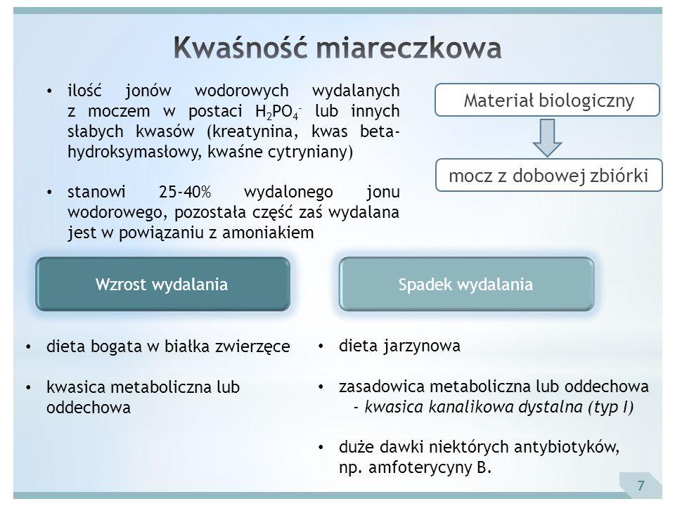 7 mocz z dobowej zbiórki Materiał biologiczny ilość jonów wodorowych wydalanych z moczem w postaci H 2 PO 4 - lub innych słabych kwasów (kreatynina, k