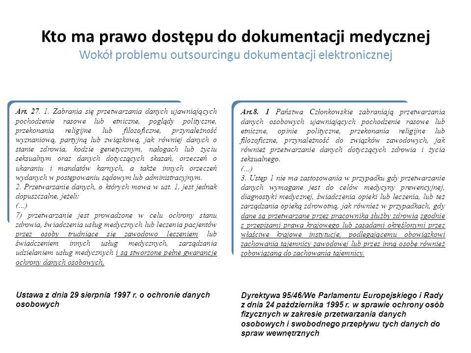 Kto ma prawo dostępu do dokumentacji medycznej Wokół problemu outsourcingu dokumentacji elektronicznej Generalny zakaz przetwarzania danych medycznych w ramach dokumentacji medycznej zawierało nieobowiązujące już Rozporządzenie Ministra Zdrowia z dnia 21 grudnia 2006 r.