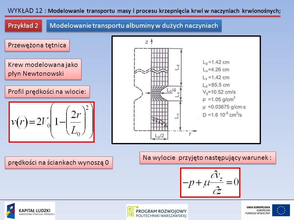 WYKŁAD 12 : Modelowanie transportu masy i procesu krzepnięcia krwi w naczyniach krwionośnych; Przykład 2 Modelowanie transportu albuminy w dużych naczyniach Przewężona tętnica Krew modelowana jako płyn Newtonowski Krew modelowana jako płyn Newtonowski Profil prędkości na wlocie: prędkości na ściankach wynoszą 0 Na wylocie przyjęto następujący warunek :