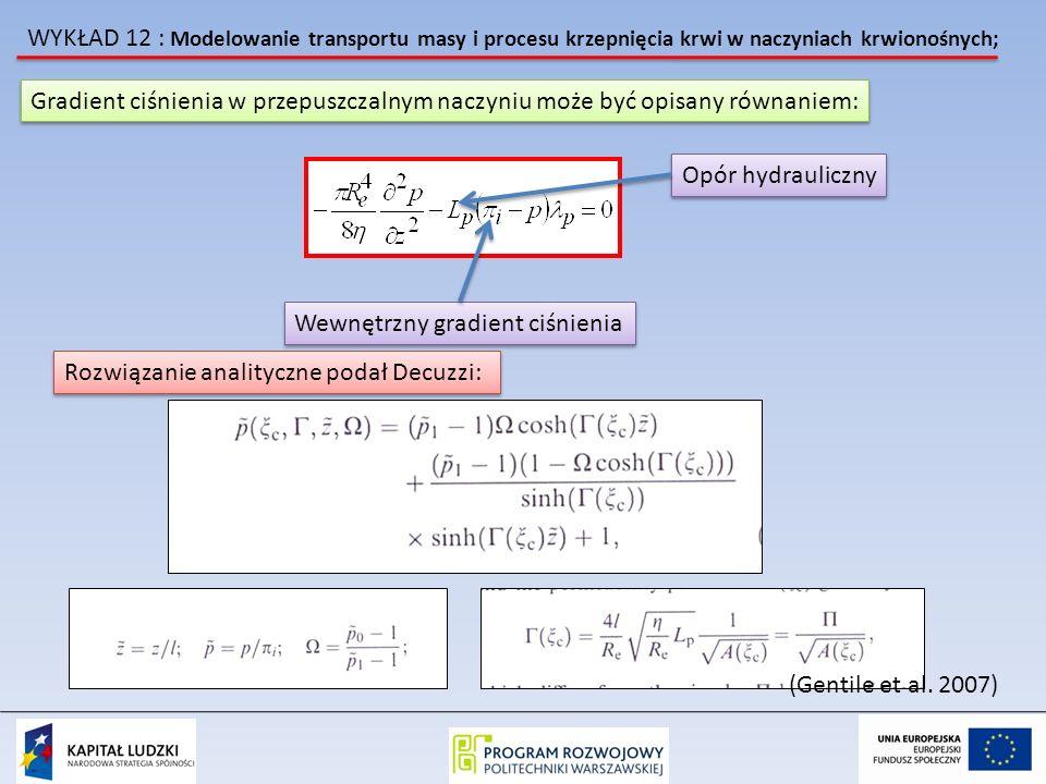 WYKŁAD 12 : Modelowanie transportu masy i procesu krzepnięcia krwi w naczyniach krwionośnych; Gradient ciśnienia w przepuszczalnym naczyniu może być opisany równaniem: Wewnętrzny gradient ciśnienia Opór hydrauliczny Rozwiązanie analityczne podał Decuzzi: (Gentile et al.