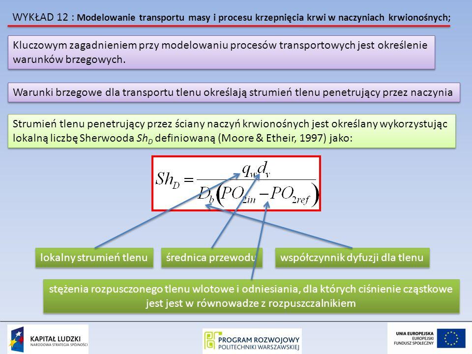 WYKŁAD 12 : Modelowanie transportu masy i procesu krzepnięcia krwi w naczyniach krwionośnych; Kluczowym zagadnieniem przy modelowaniu procesów transportowych jest określenie warunków brzegowych.
