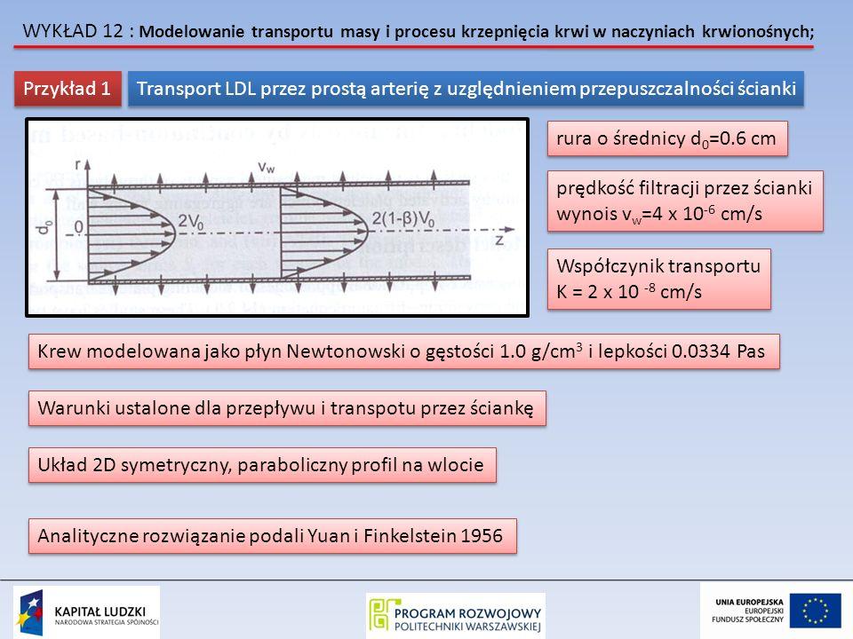WYKŁAD 12 : Modelowanie transportu masy i procesu krzepnięcia krwi w naczyniach krwionośnych; (Gentile et al.