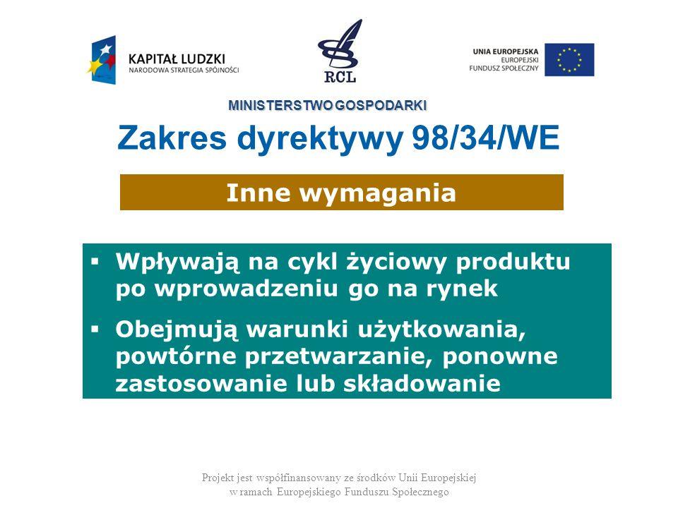 MINISTERSTWO GOSPODARKI Projekt jest współfinansowany ze środków Unii Europejskiej w ramach Europejskiego Funduszu Społecznego Wpływają na cykl życiowy produktu po wprowadzeniu go na rynek Obejmują warunki użytkowania, powtórne przetwarzanie, ponowne zastosowanie lub składowanie Inne wymagania Zakres dyrektywy 98/34/WE