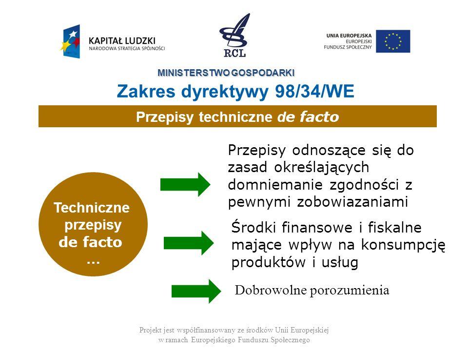 MINISTERSTWO GOSPODARKI Projekt jest współfinansowany ze środków Unii Europejskiej w ramach Europejskiego Funduszu Społecznego Techniczne przepisy de