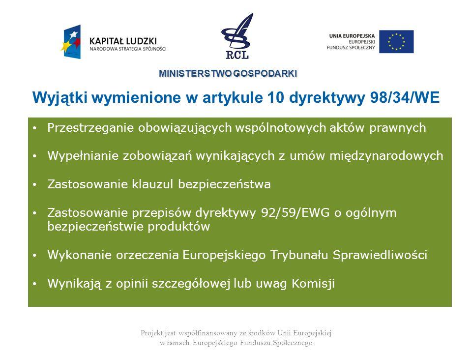 MINISTERSTWO GOSPODARKI Projekt jest współfinansowany ze środków Unii Europejskiej w ramach Europejskiego Funduszu Społecznego -Implementation of an ECJ judgement - Amendment of a technical regulation in accordance with a Commission request Przestrzeganie obowiązujących wspólnotowych aktów prawnych Wypełnianie zobowiązań wynikających z umów międzynarodowych Zastosowanie klauzul bezpieczeństwa Zastosowanie przepisów dyrektywy 92/59/EWG o ogólnym bezpieczeństwie produktów Wykonanie orzeczenia Europejskiego Trybunału Sprawiedliwości Wynikają z opinii szczegółowej lub uwag Komisji Wyjątki wymienione w artykule 10 dyrektywy 98/34/WE