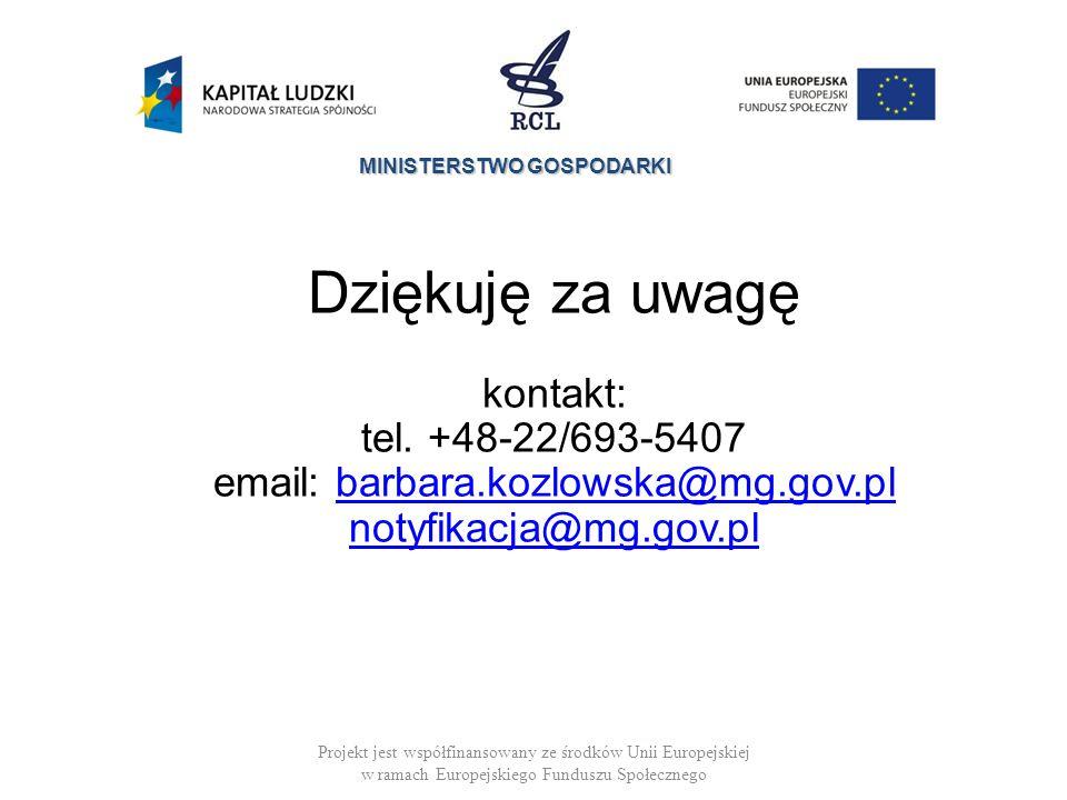 MINISTERSTWO GOSPODARKI Projekt jest współfinansowany ze środków Unii Europejskiej w ramach Europejskiego Funduszu Społecznego Dziękuję za uwagę kontakt: tel.