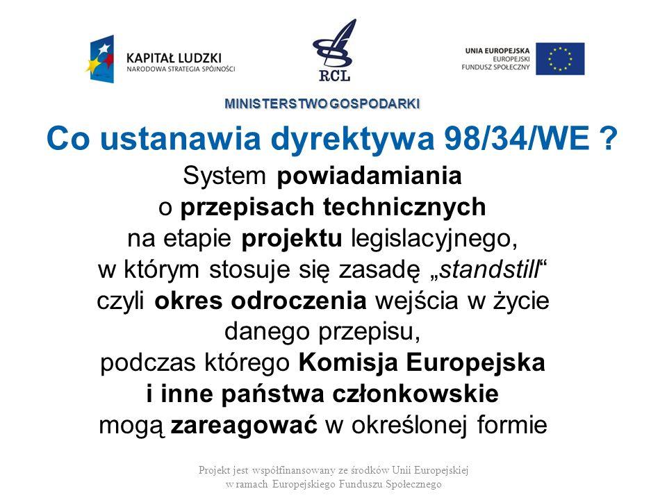 MINISTERSTWO GOSPODARKI Cele dyrektywy 98/34/WE Projekt jest współfinansowany ze środków Unii Europejskiej w ramach Europejskiego Funduszu Społecznego Dobre funkcjonowanie rynku wewnętrznego Zapobieganie Przejrzystość Wszyscy uczestnicy procedury notyfikacyjnej są powiadomieni Zapobieganie barierom handlowym, zanim się pojawią
