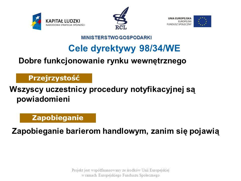 MINISTERSTWO GOSPODARKI Projekt jest współfinansowany ze środków Unii Europejskiej w ramach Europejskiego Funduszu Społecznego Cele dyrektywy 98/34/WE Pomocniczość + Lepsze Stanowienie Prawa + Porównywanie rozwiązań + Instrument polityki przemysłowej Wykrywanie przypadków, gdy działanie UE wydaje się być najbardziej odpowiednie (przepisy na szczeblu UE)