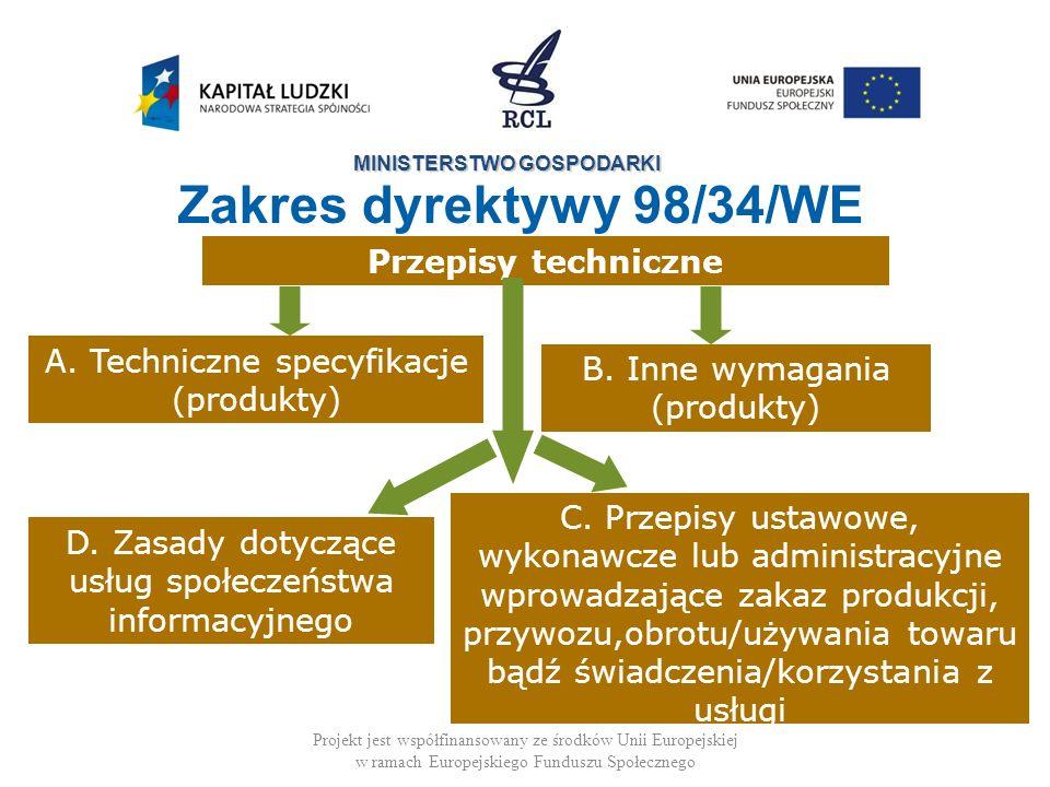 MINISTERSTWO GOSPODARKI Projekt jest współfinansowany ze środków Unii Europejskiej w ramach Europejskiego Funduszu Społecznego Poziomy jakości, wydajności, bezpieczeństwa Wymiary, forma, waga, opakowanie Nazewnictwo, symbole, znakowanie, etykiety, etc Badania/testy i metody badania/testowania Metody i procesy produkcji produktów rolnych, produktów leczniczych Procedury oceny zgodności Specyfikacje techniczne Zakres dyrektywy 98/34/WE