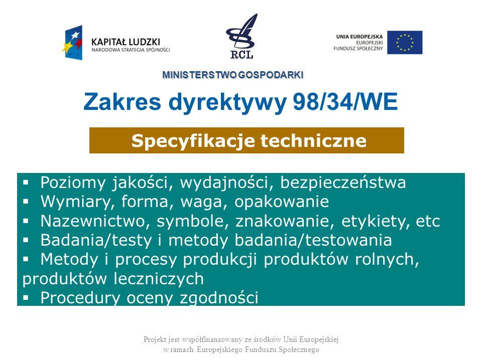 MINISTERSTWO GOSPODARKI Projekt jest współfinansowany ze środków Unii Europejskiej w ramach Europejskiego Funduszu Społecznego Poziomy jakości, wydajn