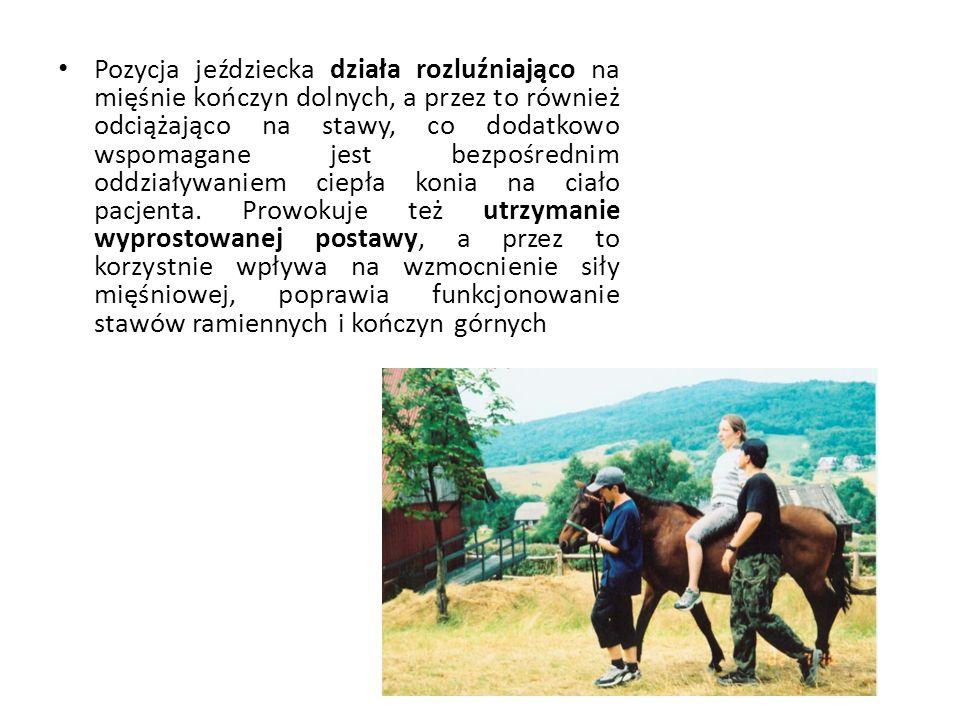 Pozycja jeździecka działa rozluźniająco na mięśnie kończyn dolnych, a przez to również odciążająco na stawy, co dodatkowo wspomagane jest bezpośrednim oddziaływaniem ciepła konia na ciało pacjenta.