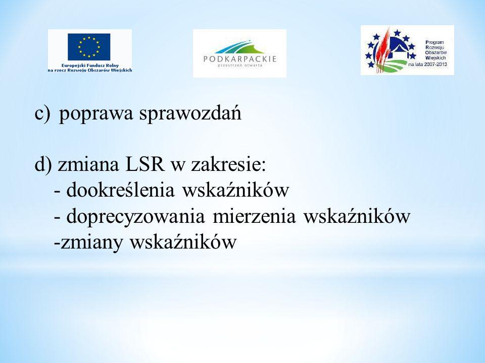 c) poprawa sprawozdań d) zmiana LSR w zakresie: - dookreślenia wskaźników - doprecyzowania mierzenia wskaźników -zmiany wskaźników