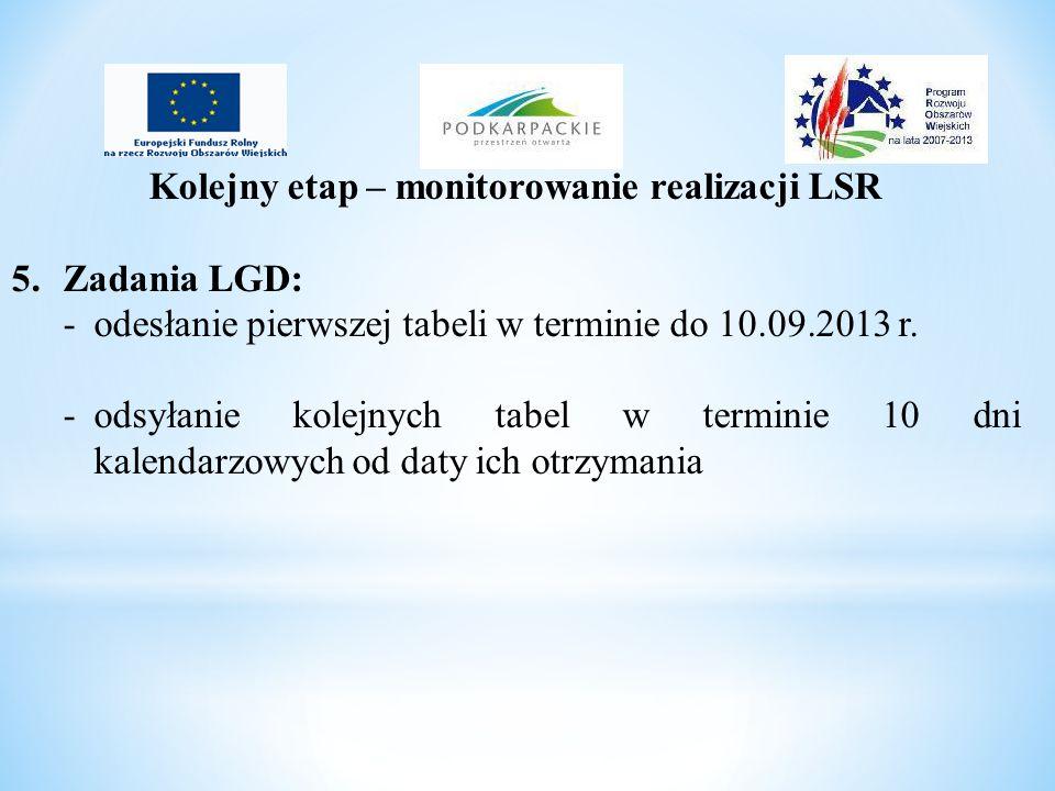 Kolejny etap – monitorowanie realizacji LSR 5.Zadania LGD: - odesłanie pierwszej tabeli w terminie do 10.09.2013 r. -odsyłanie kolejnych tabel w termi