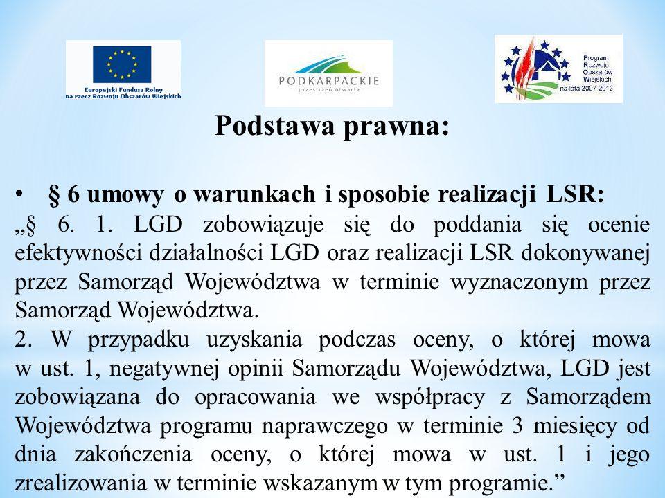 Podstawa prawna: § 6 umowy o warunkach i sposobie realizacji LSR: § 6. 1. LGD zobowiązuje się do poddania się ocenie efektywności działalności LGD ora