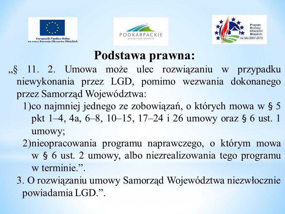 Podstawa prawna: § 11. 2. Umowa może ulec rozwiązaniu w przypadku niewykonania przez LGD, pomimo wezwania dokonanego przez Samorząd Województwa: 1)co