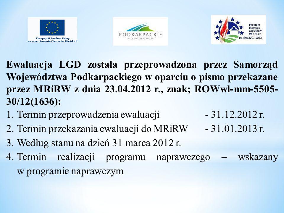 Ewaluacja LGD została przeprowadzona przez Samorząd Województwa Podkarpackiego w oparciu o pismo przekazane przez MRiRW z dnia 23.04.2012 r., znak; RO
