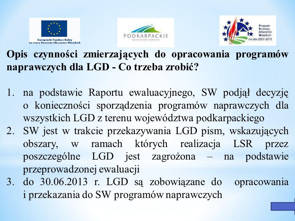 4.bazą do sporządzenia programów naprawczych są: - LSR - sprawozdania LGD z realizacji LSR - Raport ewaluacyjny - Aktualne dane dostępne w SW