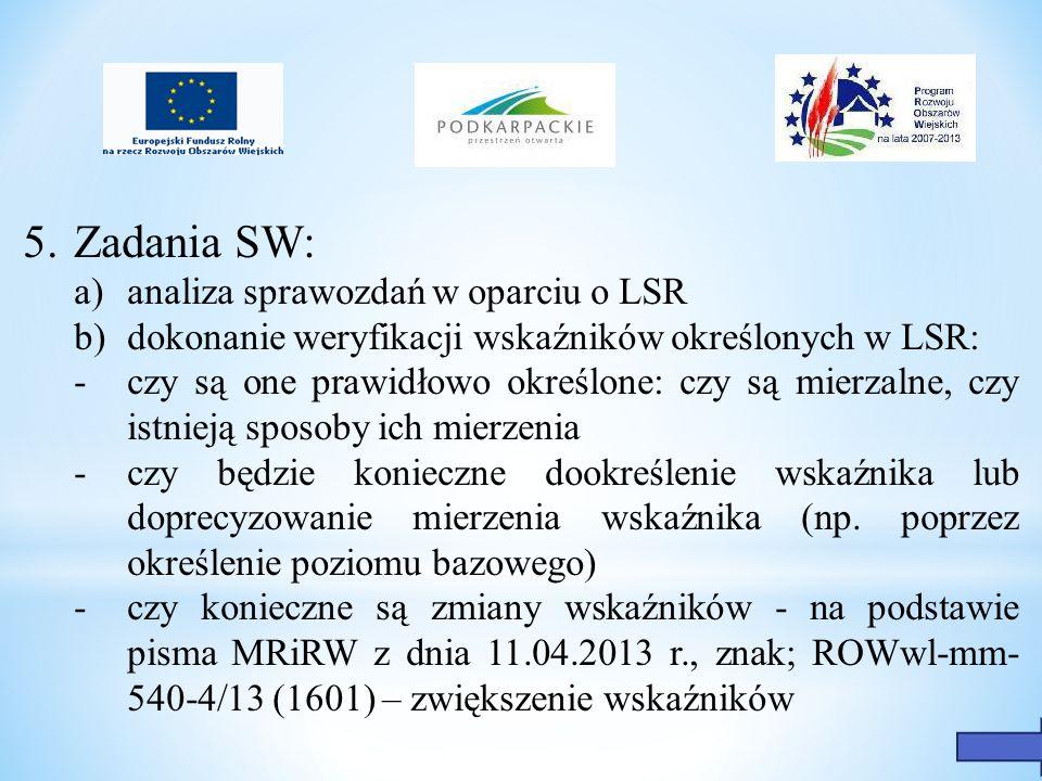 5.Zadania SW: a) analiza sprawozdań w oparciu o LSR b)dokonanie weryfikacji wskaźników określonych w LSR: - czy są one prawidłowo określone: czy są mi