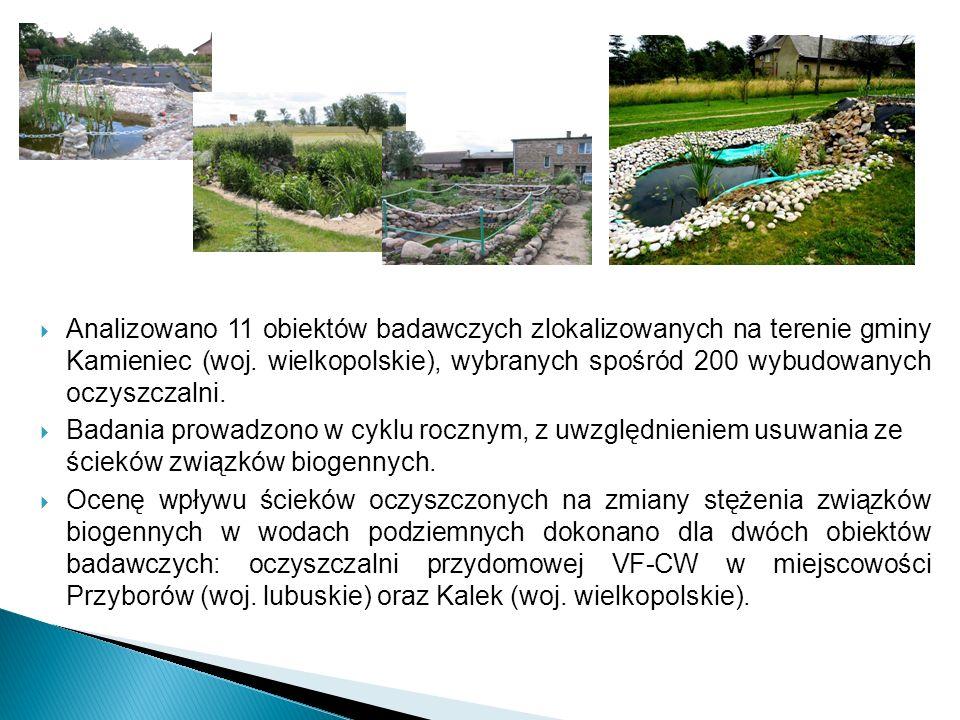 Analizowano 11 obiektów badawczych zlokalizowanych na terenie gminy Kamieniec (woj. wielkopolskie), wybranych spośród 200 wybudowanych oczyszczalni. B