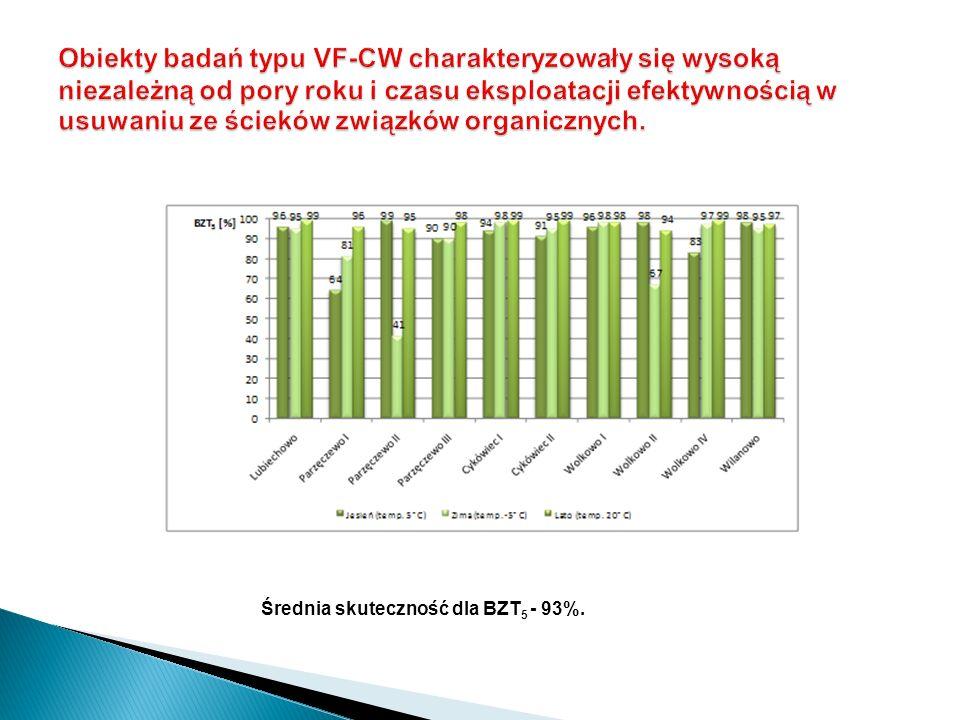 Średnia skuteczność dla BZT 5 - 93%.