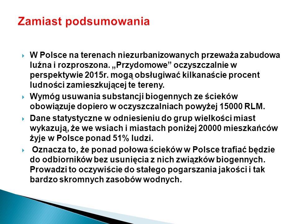 W Polsce na terenach niezurbanizowanych przeważa zabudowa luźna i rozproszona. Przydomowe oczyszczalnie w perspektywie 2015r. mogą obsługiwać kilkanaś