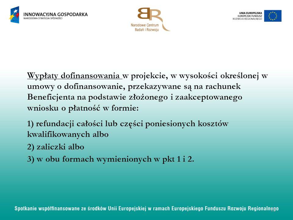 Wypłaty dofinansowania w projekcie, w wysokości określonej w umowy o dofinansowanie, przekazywane są na rachunek Beneficjenta na podstawie złożonego i