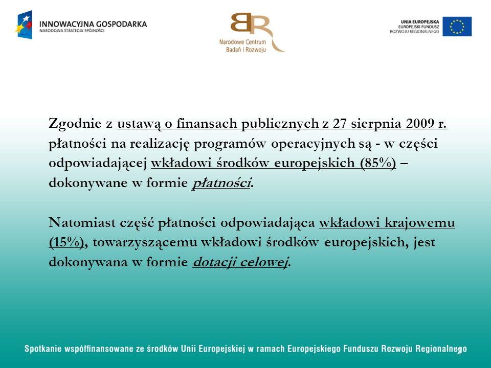 Zgodnie z ustawą o finansach publicznych z 27 sierpnia 2009 r. płatności na realizację programów operacyjnych są - w części odpowiadającej wkładowi śr