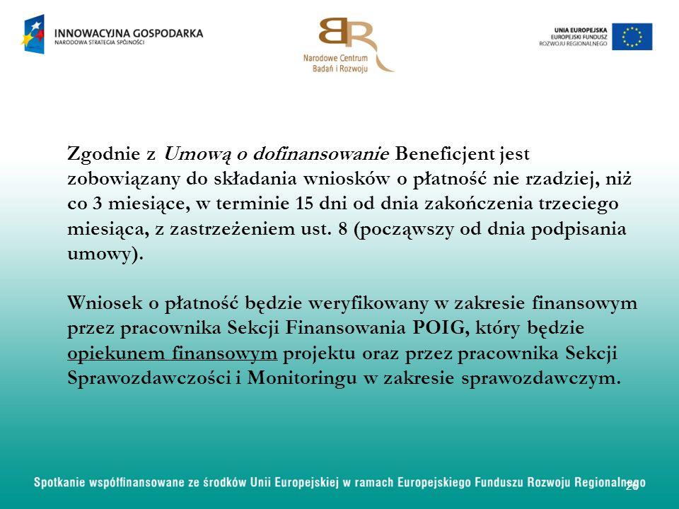 Zgodnie z Umową o dofinansowanie Beneficjent jest zobowiązany do składania wniosków o płatność nie rzadziej, niż co 3 miesiące, w terminie 15 dni od d